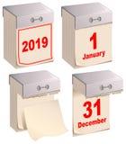 2019 fastställda nya och gamla river av kalendern Januari 1 December 31 stock illustrationer