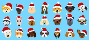 Fastställda olika avel av hundkapplöpning i hattar av Santa Claus, nytt år 2018 för symboler Royaltyfria Foton
