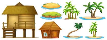 Fastställda olika former för sommar av ön och kojan royaltyfri illustrationer