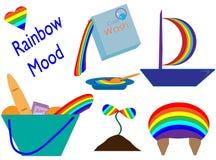 Fastställda olika objekt med regnbågemålarfärg stock illustrationer