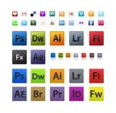 Fastställda olika och Adobesymboler vektor illustrationer