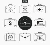 Fastställda olika portföljer för vektor Illustration av affärsresväskan i den tunna linjen stil Symboler det illustrerar livsstil stock illustrationer