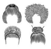 Fastställda olika roliga kvinnahår fransblyertspennateckningen skissar japansk hairstile bullehårspänne Nationellt mode Royaltyfria Foton