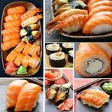 Fastställda olika sorter av den japanska sushi Arkivfoton