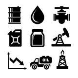 Fastställda olje- symboler royaltyfri illustrationer