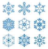 Fastställda original- snowflakes Royaltyfria Bilder