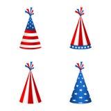 Fastställda partihattar med flaggan av Amerikas förenta stater Tillbehör för amerikanska ferier Royaltyfri Bild