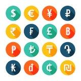 Fastställda pengarsymboler Arkivbild