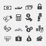 Fastställda pengarsymboler stock illustrationer