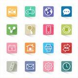 Fastställda plana symboler för rengöringsduk och vit bakgrund Arkivbilder