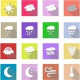Fastställda plana symboler för väder och vit bakgrund Royaltyfri Foto