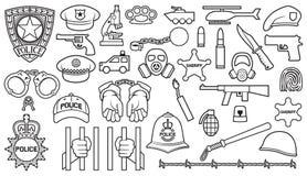 Fastställda polissymboler vektor illustrationer