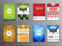 Fastställda polygonal broschyrer och reklamblad Arkivbild