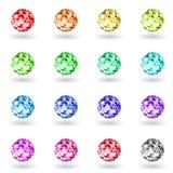Fastställda polygonal sfärer av olika färger Arkivbild