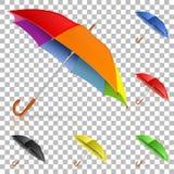 Fastställda realistiska paraplyer Arkivbilder