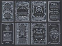 Fastställda retro kort för tappning Inbjudan för bröllop för mallhälsningkort Linje calligraphic ramar Royaltyfri Foto
