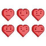 Fastställda roliga hjärtor för PIXEL vektor illustrationer