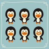 Fastställda roliga pingvin för vektor Arkivfoto