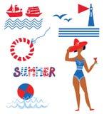 Fastställda roliga symboler för hav och för strand Arkivbild