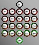 Fastställda runda indikatorer som visar procentsatsen av nedladdningar vektor illustrationer