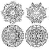 Fastställda runda mandalas för att färga Fotografering för Bildbyråer