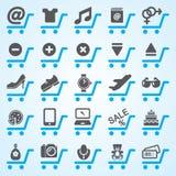 Fastställda shopping- och E-kommers symboler Royaltyfri Foto
