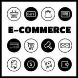 Fastställda shopping- och E-kommers symboler Royaltyfri Bild