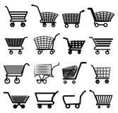 Fastställda shoppingvagnssymboler Arkivfoton