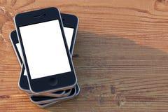 Fastställda smartphones med handlag avskärmer (lämnat sammansättningsversion) Royaltyfria Bilder