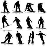 Fastställda snowboarders för svarta konturer på vit stock illustrationer