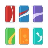 Fastställda sodavattencans för symbol stock illustrationer