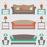 Fastställda Sofas Plan vektorillustration sid tabellen Etikettlampa royaltyfri illustrationer
