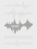 Fastställda solida vågor Ljudsignal teknologi, pulsmusikal Räkning för albumet eller musikspåret Vektorillustration EPS10 Arkivfoto