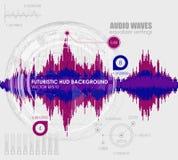 Fastställda solida vågor Ljudsignal utjämnareteknologi, pulsmusikal Räkning för albumet eller musikspåret också vektor för coreld Arkivbilder