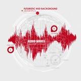 Fastställda solida vågor Ljudsignal utjämnareteknologi, pulsmusikal Räkning för albumet eller musikspåret också vektor för coreld Arkivbild