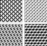 Fastställda svartvita optiska illusioner för vektor seamless textur Royaltyfria Bilder