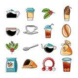 Fastställda symboler av kaffe- och kökhjälpmedel stock illustrationer