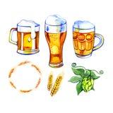 Fastställda symboler för öl, logo, etikett vattenfärg för stil för bambuillustration japansk vektor illustrationer