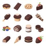 Fastställda symboler för chokladefterrätter i tecknad filmstil Stor samling av illustrationen för materiel för symbol för choklad stock illustrationer