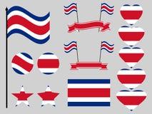 Fastställda symboler för Costa Rica flagga, flagga i hjärta vektor vektor illustrationer