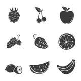Fastställda symboler för frukt Arkivbilder
