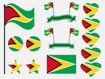 Fastställda symboler för Guyana flagga, flagga i hjärta vektor stock illustrationer
