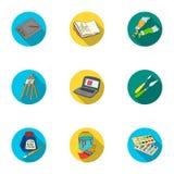 Fastställda symboler för konstnär och för teckning i plan stil Den stora samlingen av konstnär- och teckningsvektorsymbolet lager royaltyfri illustrationer