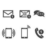 Fastställda symboler för kontaktknappar Email kuvert, telefon, mobil Vecto vektor illustrationer