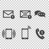 Fastställda symboler för kontaktknappar Email kuvert, telefon, mobil Vecto stock illustrationer
