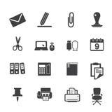 Fastställda symboler för kontorstillförsel Arkivfoton