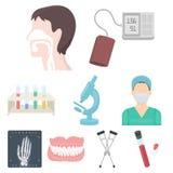 Fastställda symboler för medicin och för sjukhus royaltyfri illustrationer
