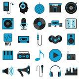 Fastställda symboler för musik i plan stil Royaltyfri Bild