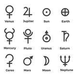 Fastställda symboler för solsystemplanetsymboler vektor illustrationer