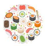Fastställda symboler för sushi, i rund form, lägenhetstil Japansk kokkonst som isoleras på vit bakgrund Vektorillustration, gem stock illustrationer
